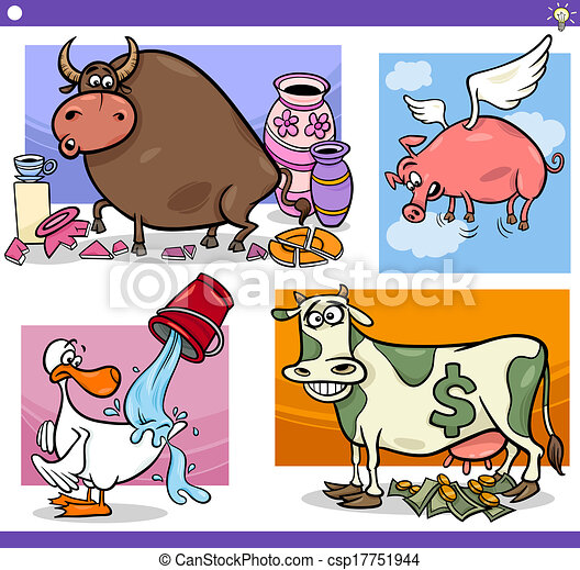 cartoon sayings or proverbs concepts set - csp17751944