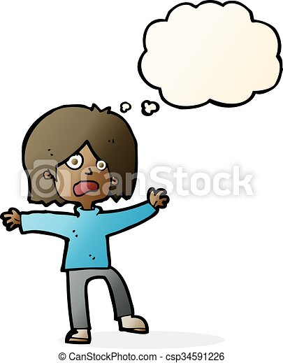 cartoon scared person with thought bubble vector illustration rh canstockphoto com