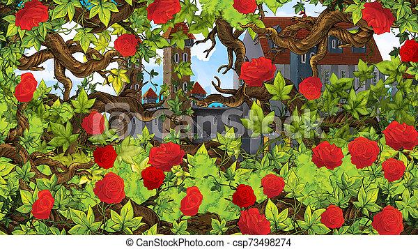 Cartoon scene of rose garden near castle in the background illustration for children - csp73498274