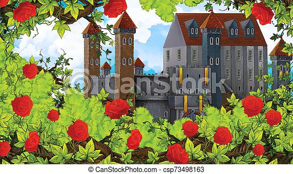 Cartoon scene of rose garden near castle in the background illustration for children - csp73498163