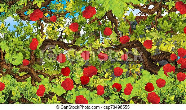 Cartoon scene of rose garden near castle in the background illustration for children - csp73498555