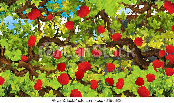 Cartoon scene of rose garden near castle in the background illustration for children - csp73498322
