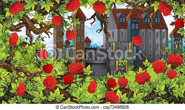 Cartoon scene of rose garden near castle in the background illustration for children - csp73498606