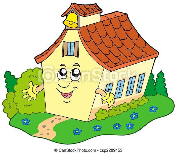 Cartoon school building - csp2289453