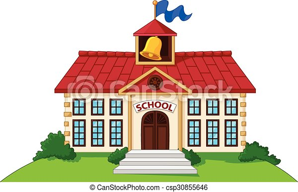 vector illustration of cartoon school building isolated with green yard rh canstockphoto com cartoon picture school building cartoon drawing school building