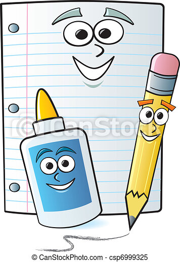 cartoon school supplies common school supplies drawn with rh canstockphoto com clipart school supplies black and white clipart pictures of school supplies