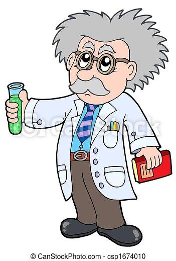 Cartoon scientist - - csp1674010
