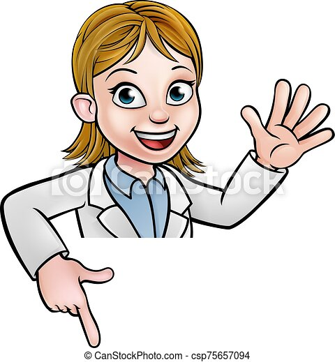 Cartoon Scientist Character Pointing at Sign - csp75657094