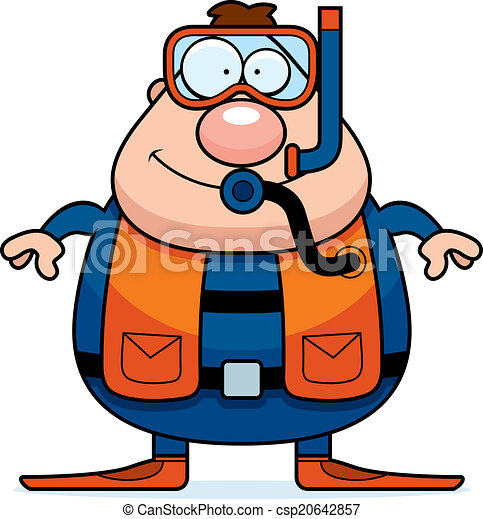 Cartoon scuba diver smiling a cartoon scuba diver - Dessin plongeur ...