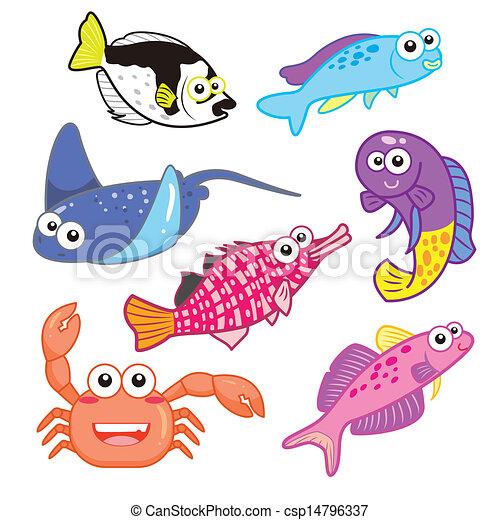 cartoon sea animals set with white background - csp14796337