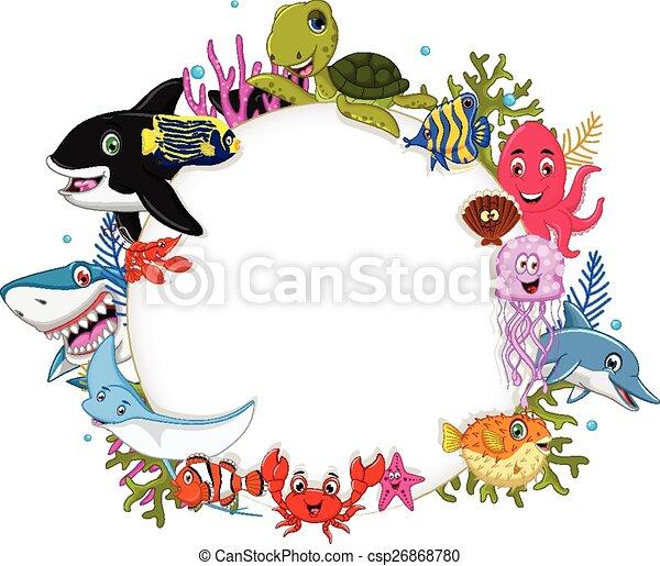 cartoon sea animals with blank sign - csp26868780