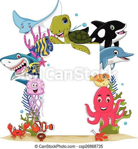 cartoon sea animals with blank sign - csp26868735