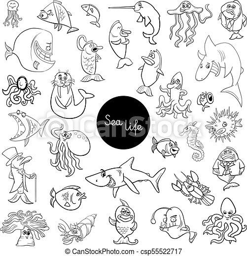 Cartoon Sea Life Animal Characters Set Color Book