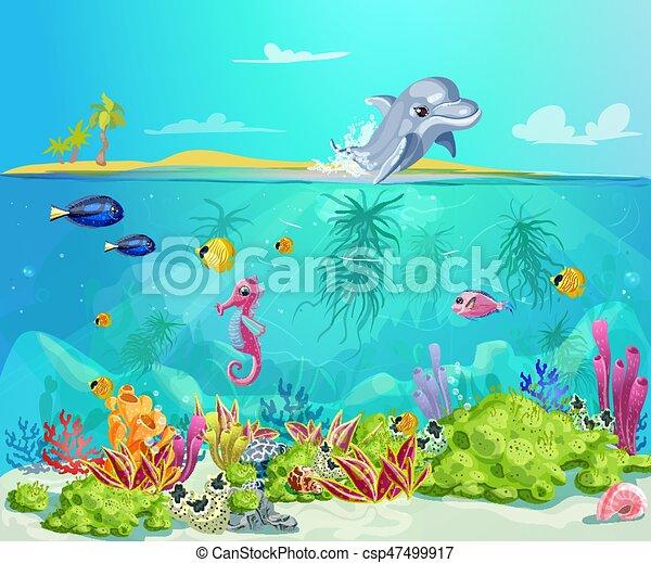 Cartoon sea life template cartoon sea life template with - Cartoni animati mare immagini ...