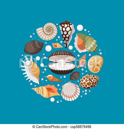 Cartoon sea shells round banner design - csp58876496