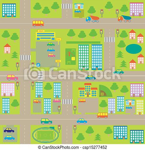 cartoon seamless city map - csp15277452