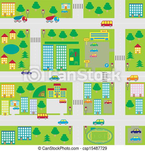 cartoon seamless city map - csp15487729