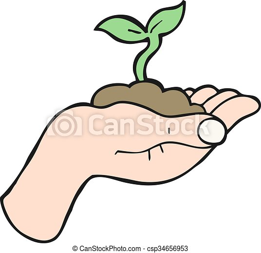 freehand drawn cartoon seedling growing held in hand clipart vector rh canstockphoto co uk free hand clipart black and white free clipart hand pointing finger