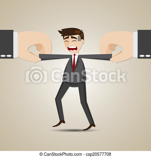 cartoon selected businessman pulling by another hand - csp20577708