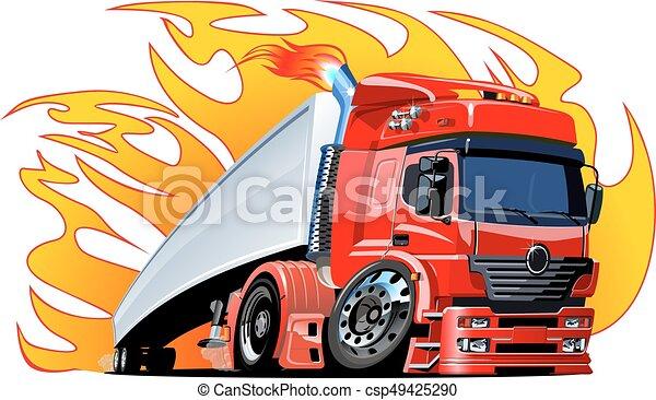 Cartoon semi truck - csp49425290