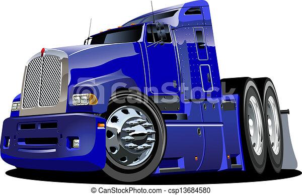 Cartoon semi truck - csp13684580