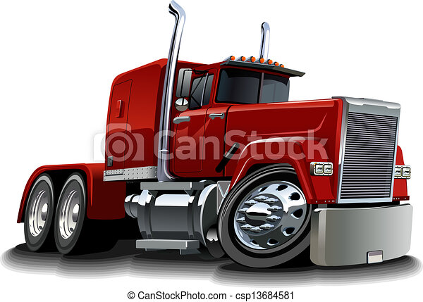 Cartoon semi truck - csp13684581