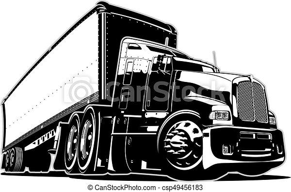Cartoon semi truck - csp49456183