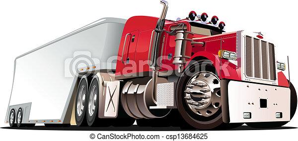 Cartoon semi truck - csp13684625
