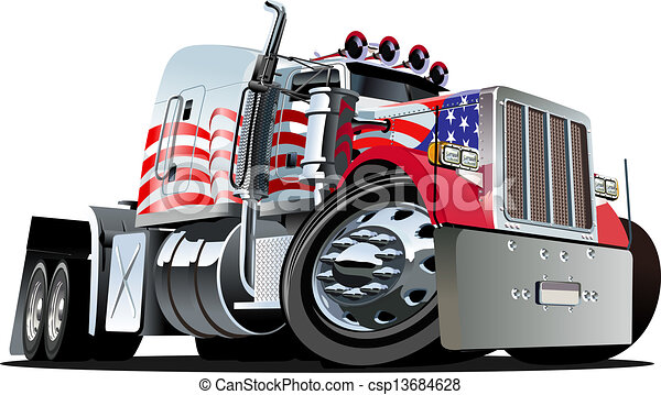 Cartoon semi truck - csp13684628