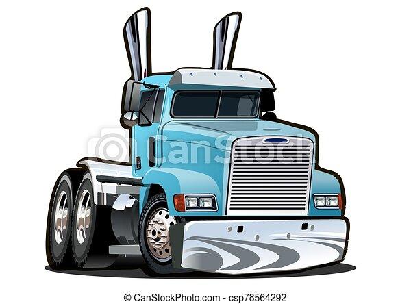 Cartoon semi truck isolated on white background - csp78564292