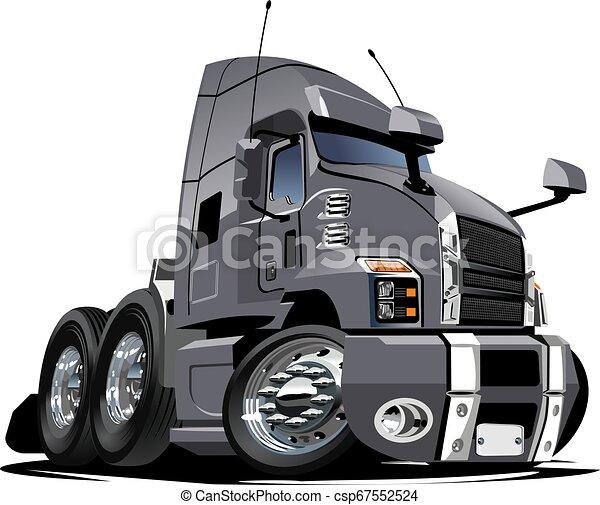 Cartoon semi truck isolated on white background - csp67552524