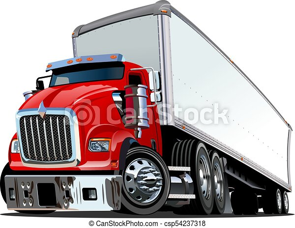 cartoon semi truck isolated on white background available vector rh canstockphoto com semi truck vector side view semi truck vector art