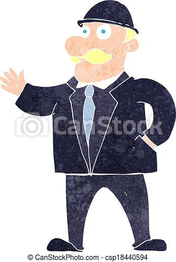 Cartoon Sensible Business Man In Bowler Hat Cartoon Sensible