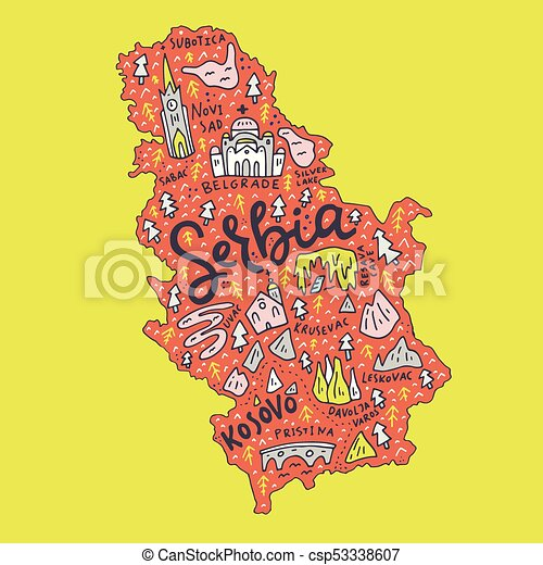 Cartoon serbia map Hand drawn map of serbia cartoon vector