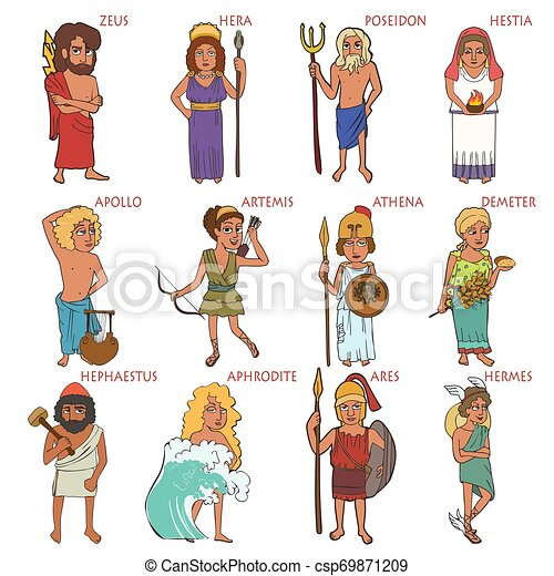Cartoon Set Of Ancient Greek Gods