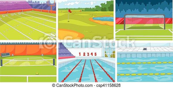 Cartoon set of backgrounds - sport infrastructure - csp41158628