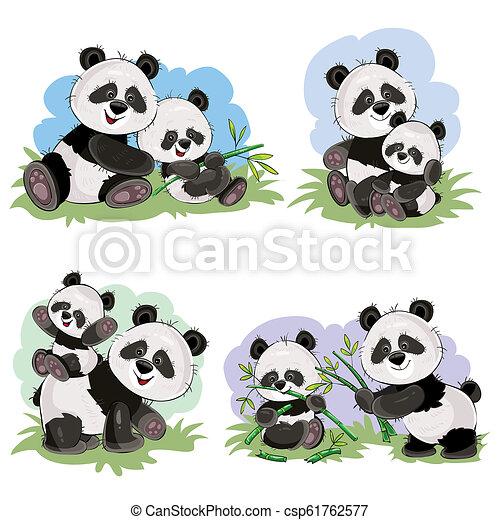Cartoon Set Of Cute Panda Bear Characters Cute Baby Panda Bear And Its Mother Playing On Grass Eating Bamboo Stems And