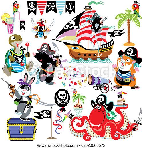 cartoon set with prates  - csp20865572