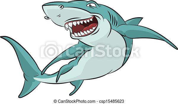 Cartoon Shark Vector Image Of Funny Smiling