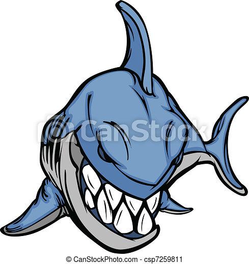 cartoon shark mascot vector image cartoon vector image of a