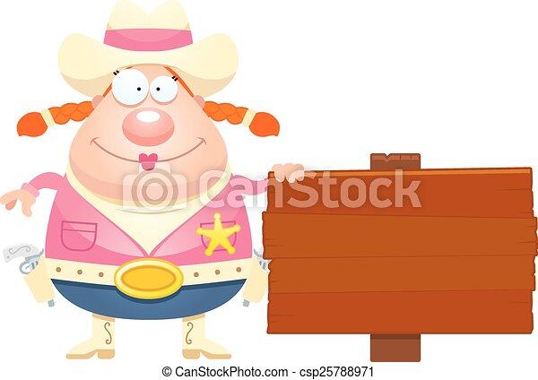 Cartoon Sheriff Sign - csp25788971