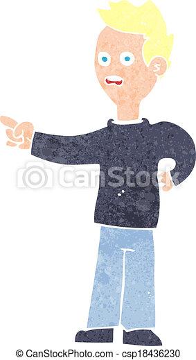 cartoon shocked boy pointing - csp18436230