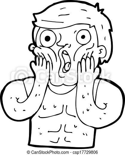 Cartoon Shocked Gym Man