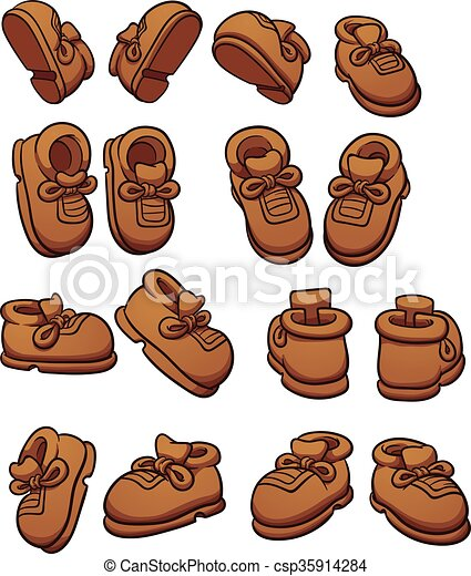 cartoon shoes in different positions vector clip art illustration