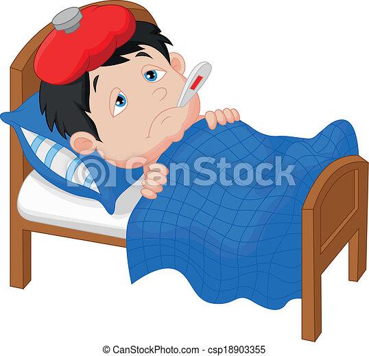 Cartoon Sick boy lying in bed - csp18903355