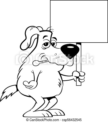 Cartoon Sick Dog With A Thermometer In His Mouth While Holding A