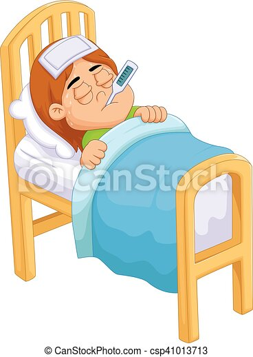 vector illustration of cartoon sick girl in bed vector clip art rh canstockphoto com sick clipart images sick clipart pictures