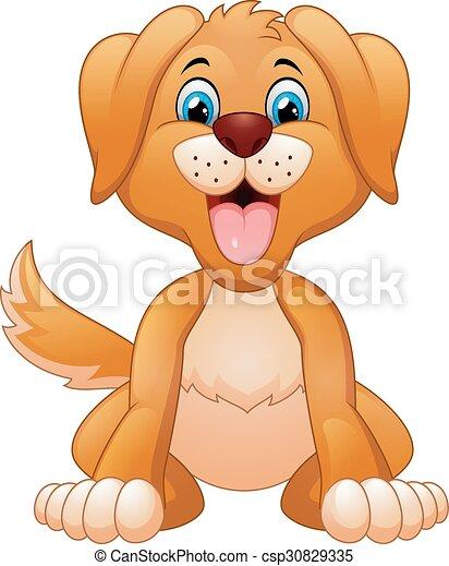Cartoon silly sitting dog  - csp30829335