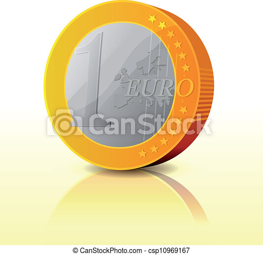 Cartoon Simple Euro Coin Illustration Of A Simple And Glossy