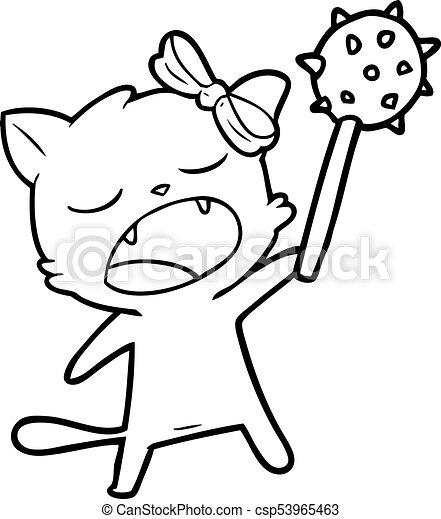 cartoon singing cat - csp53965463